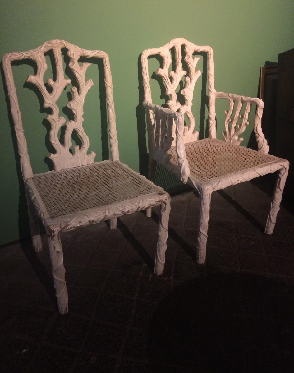 Un Fauteuil Et Une Chaise à Décor Végétal
