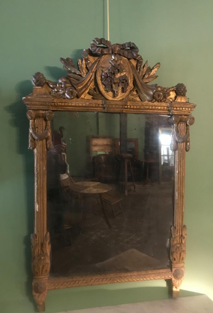 Miroir à Fronton D'époque Louis XVI-photo-3