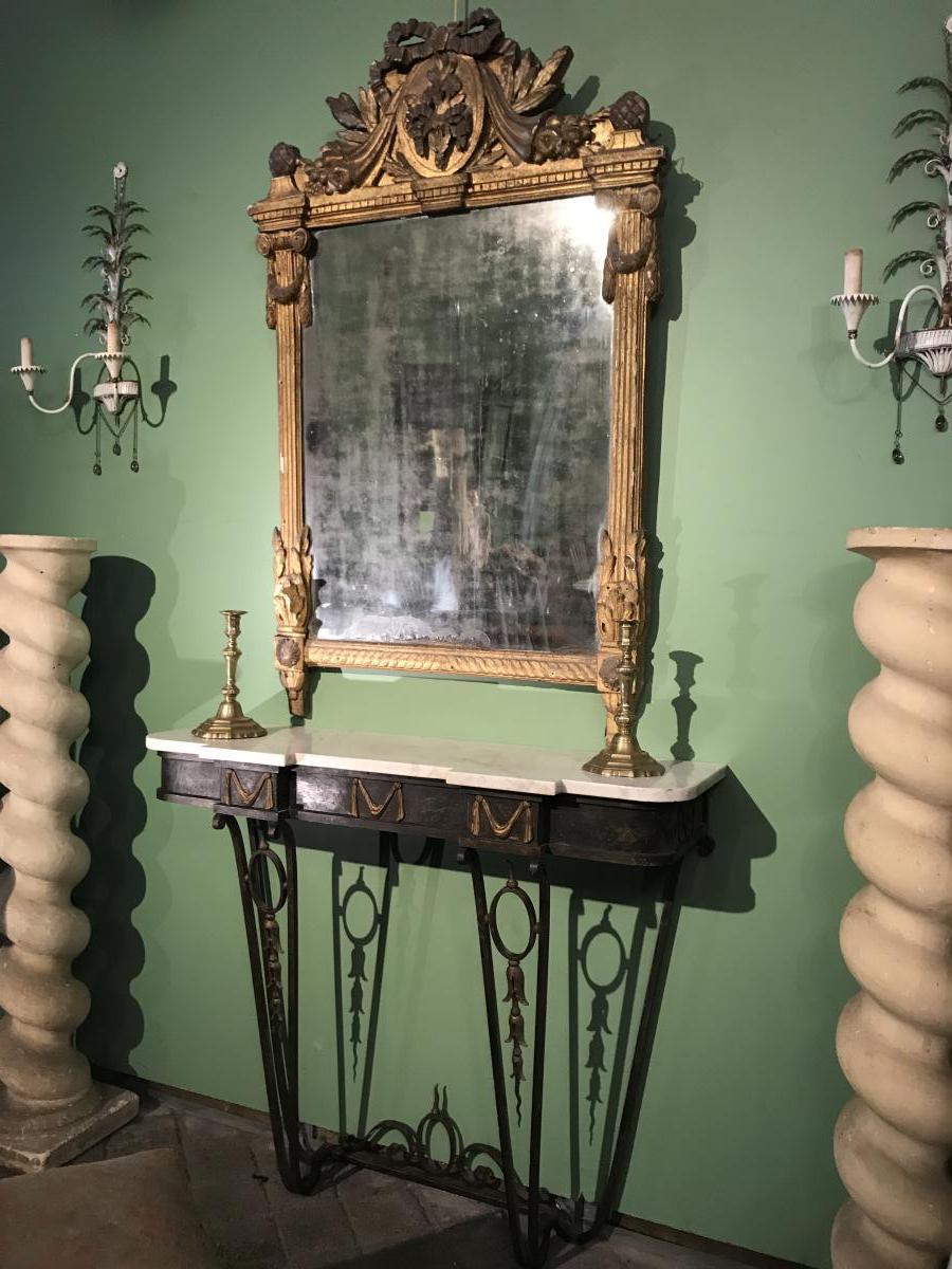 Miroir à Fronton D'époque Louis XVI