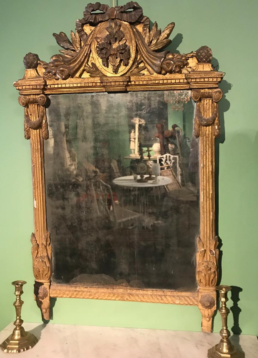 Miroir à Fronton D'époque Louis XVI-photo-2