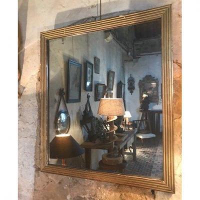 Miroir Cannelé En Bois Doré