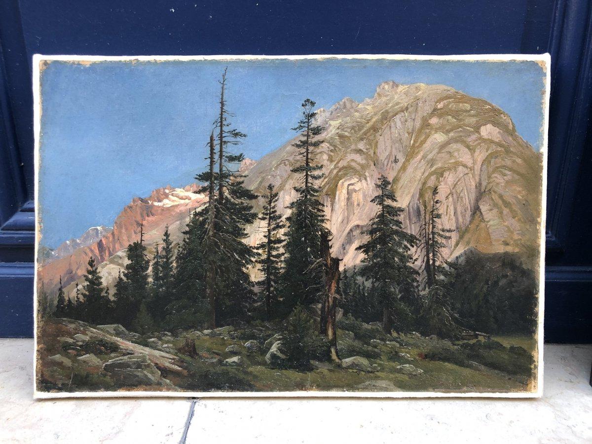 Paysage De Montagne - Huile Sur Papier (signée,située à Handeck Et Datée 1845 En Bas à Droite)