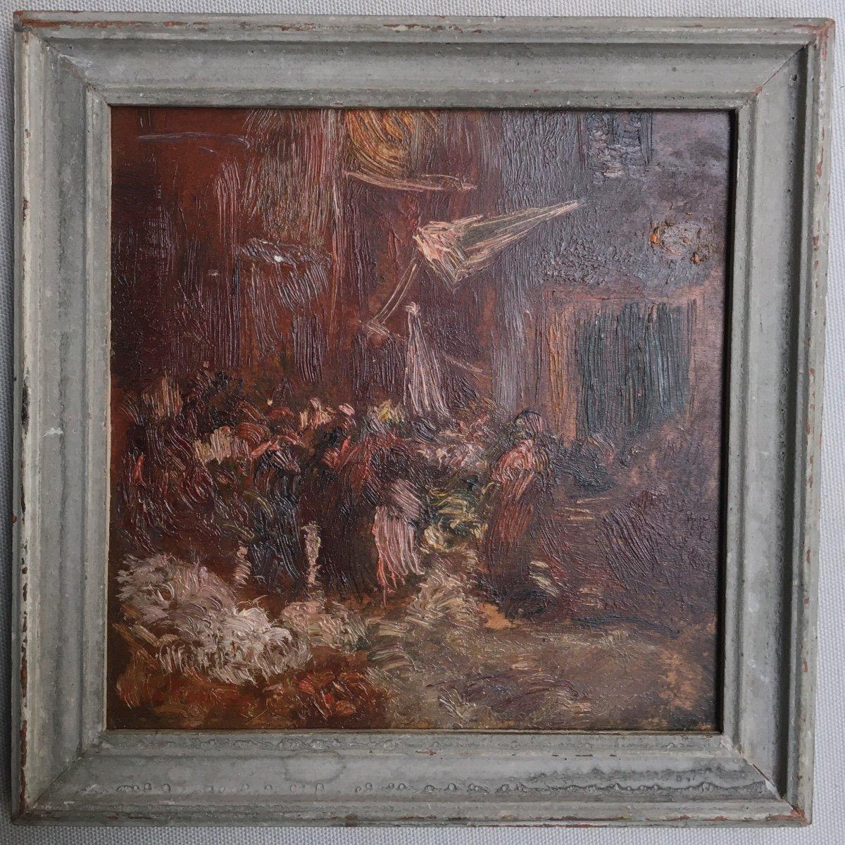 The Crowd - Gaston De La Touche - Oil On Wood