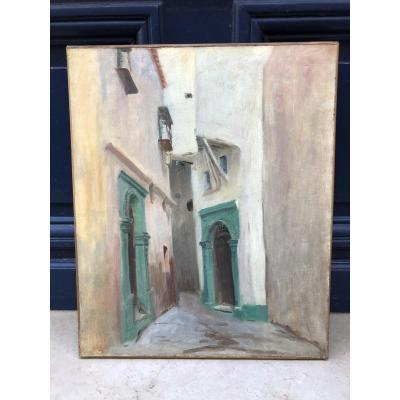 Green Doors - Orientalist School - Oil On Canvas