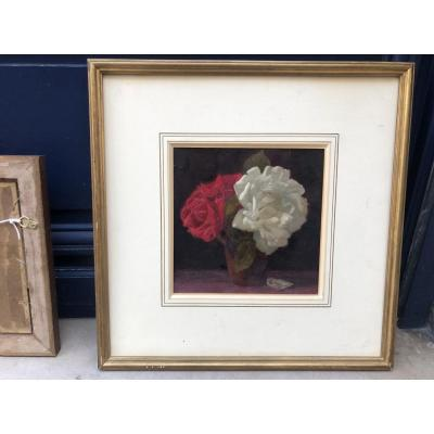 Bouquet Of Roses - Oil On Paper - Heritage Robert Durand