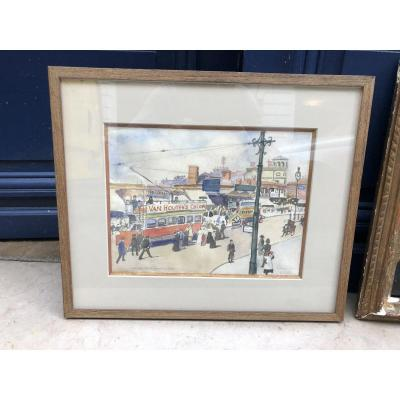 Uxbridge Road London - Ludovic Rodo Pissaro - Watercolor On Paper