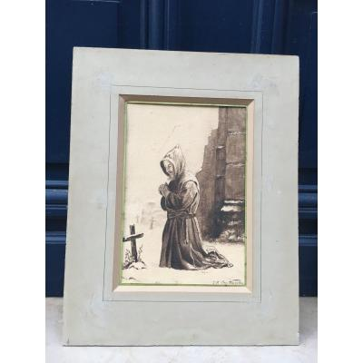 Kneeling Monk - Tr Cap Muraton - Lavis d'Encre