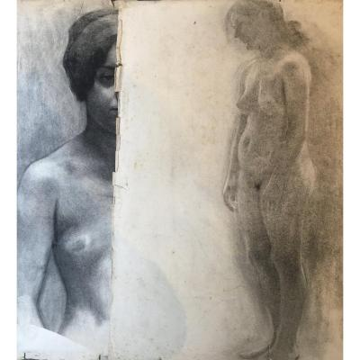 Lot Academic Drawings - Nudes Women / Men