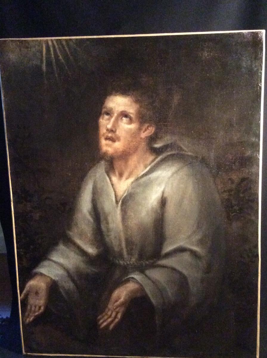 Saint-François en extase,toile espagnole du XVIIIème siècle