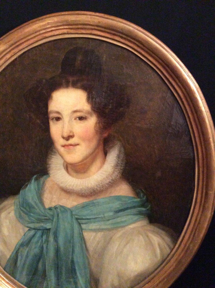 Portrait Of Woman In Blue Scarf XIXth Century.