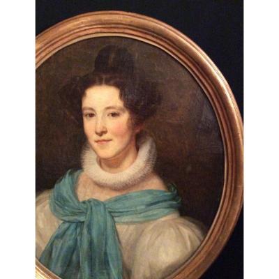 Portrait De Femme Au Foulards Bleu XIXème Siècle.