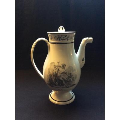 Coffeemaker Containing Fire And Water Fine Earthenware Printed XIXth.