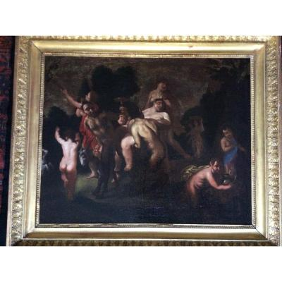 Bacchanale , peinture baroque , école française (XVII-XVIIIème s.).