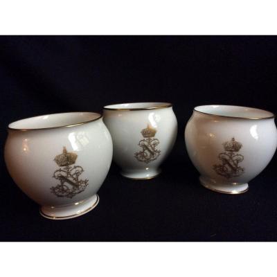 3 Petites Pots En Porcelaine De Sèvres Napoléon III