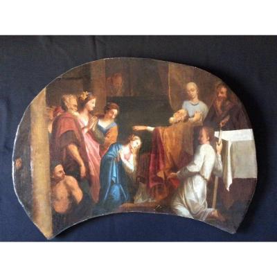 Tableau religieux du XVIII ème français ou italien .