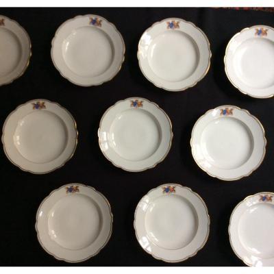 10 Assiettes Creuses En Porcelaine Blason Et Couronne XIXème Siècle