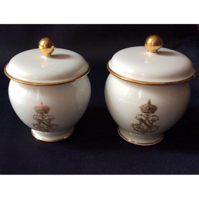 2 Pots à Crème En Porcelaine De Sèvres Napoléon III