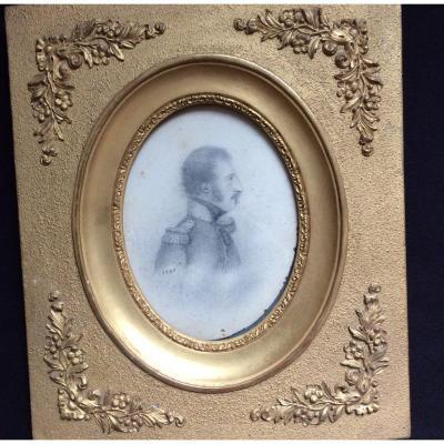 Grande Miniature Portrait D'un Militaire 1840