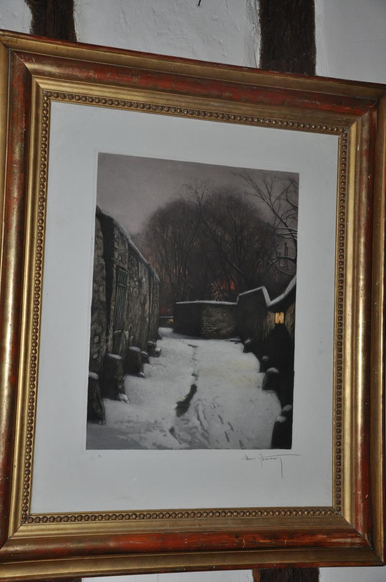 """Grande Lithographie """"paysage De Neige"""" Par Henri Jourdain"""