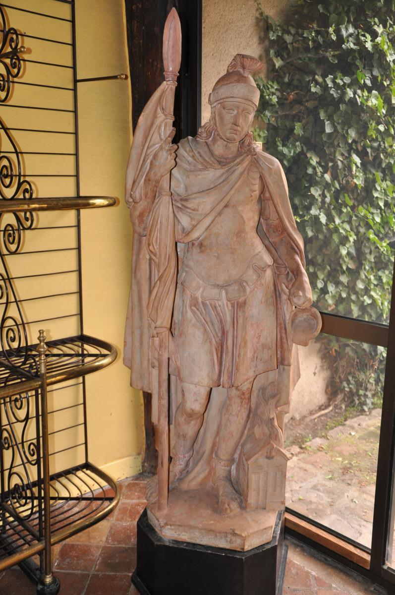 Statue En Terre Cuite De Saint Florian