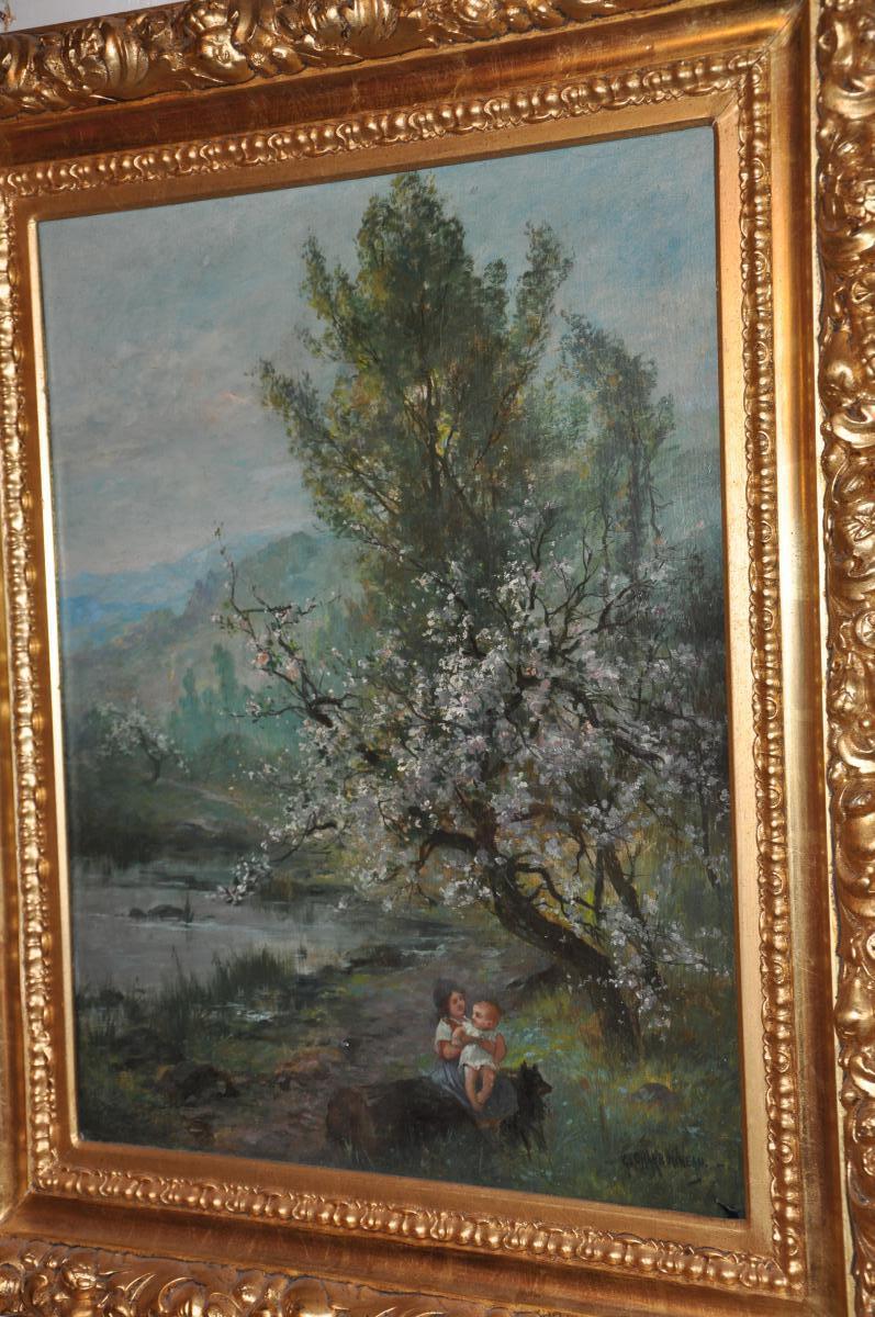 Georges Charbonneau :enfants et chien sous un arbre en fleur