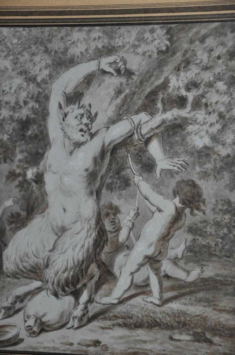 Dessin à La Sépia Du XVIII ème Siècle: Satyre Lié Par Deux Amours