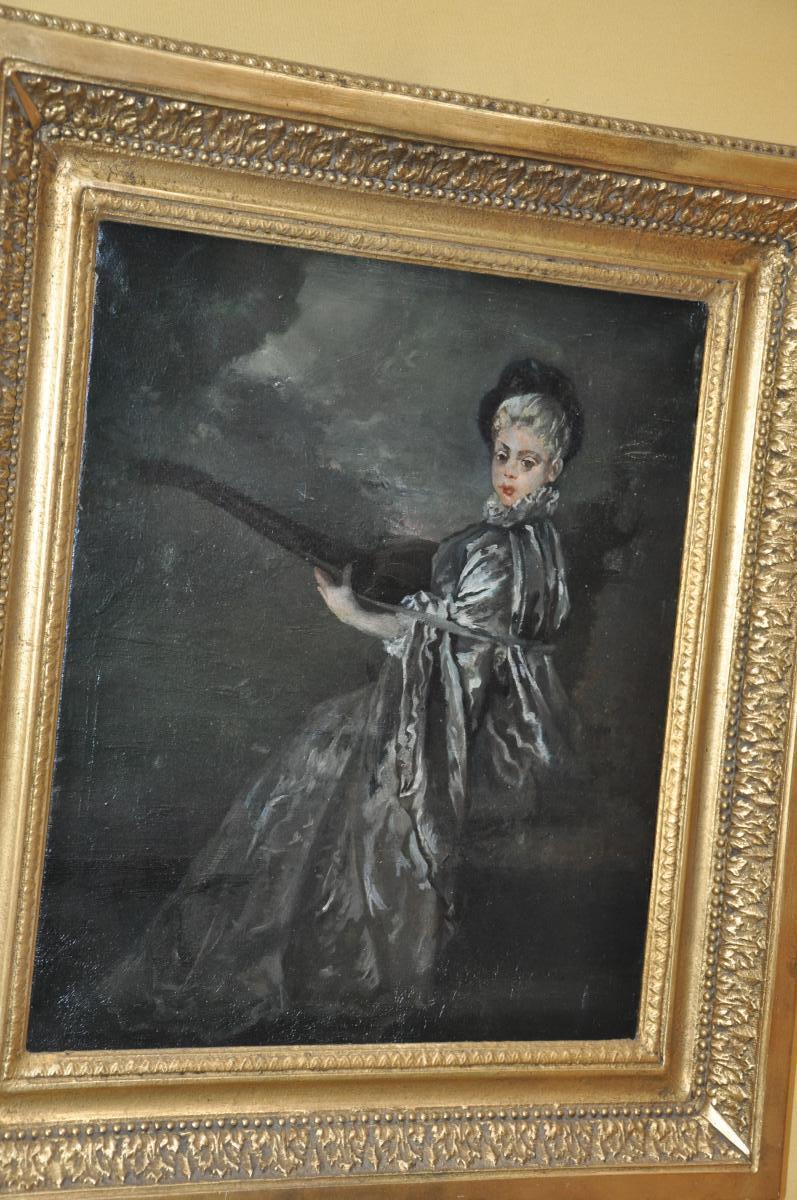 """Huile Sur Toile, Femme Au Luth dite """"La Finette"""" d'après Jean-Antoine Watteau (1684-1721)"""