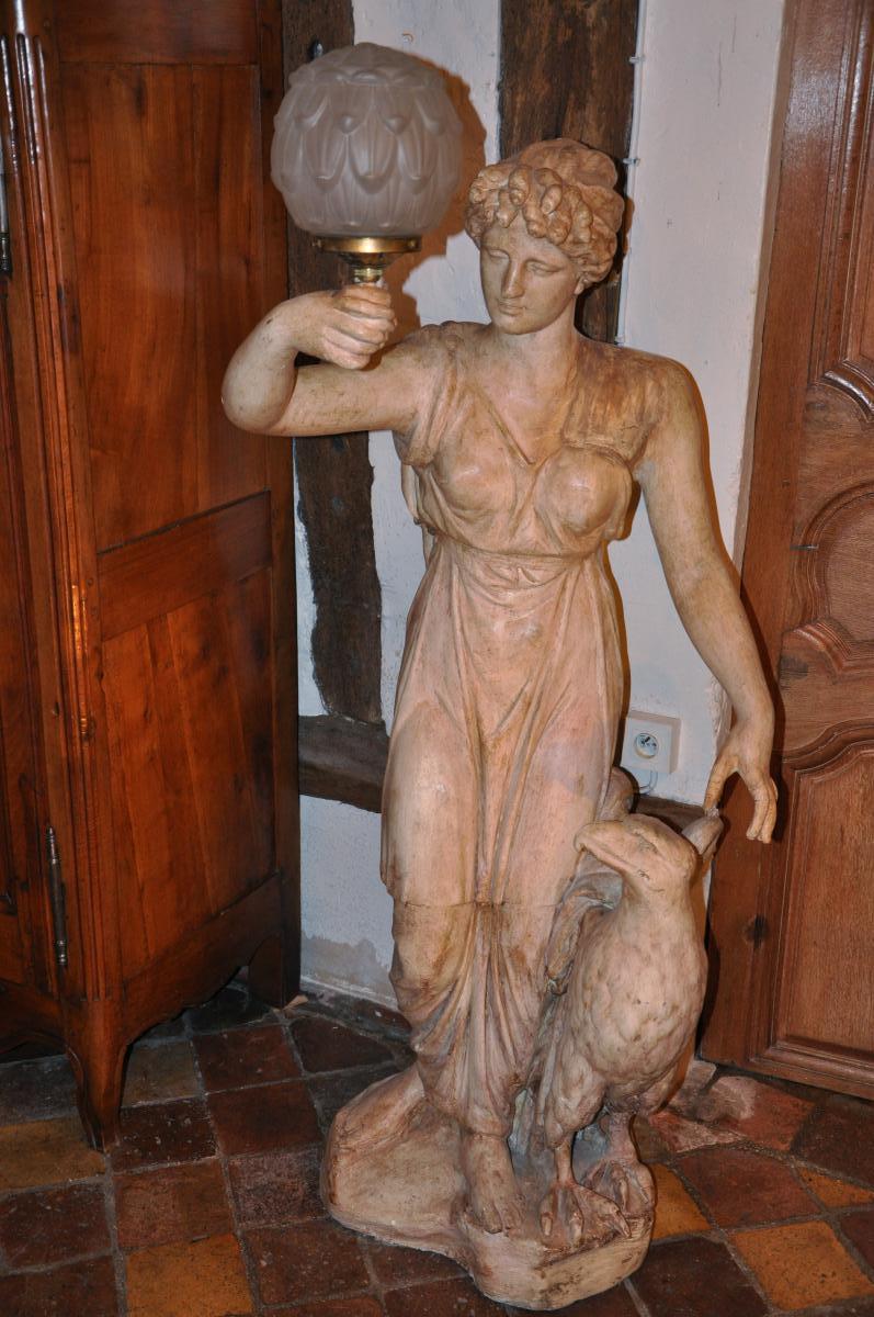 """Grande Statue Formant Torchère """"hébé Et l'Aigle"""""""