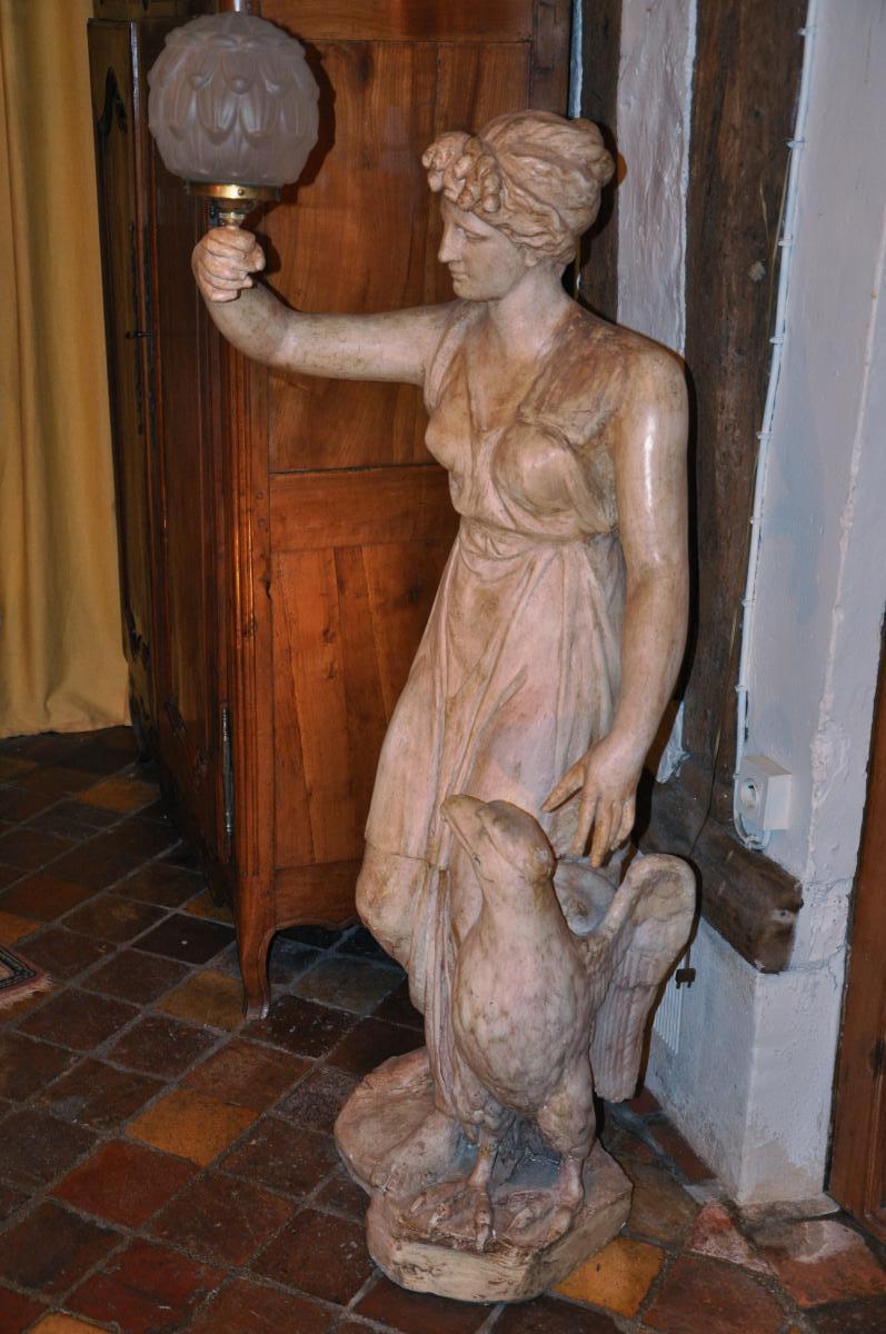 """Grande Statue Formant Torchère """"hébé Et l'Aigle""""-photo-3"""