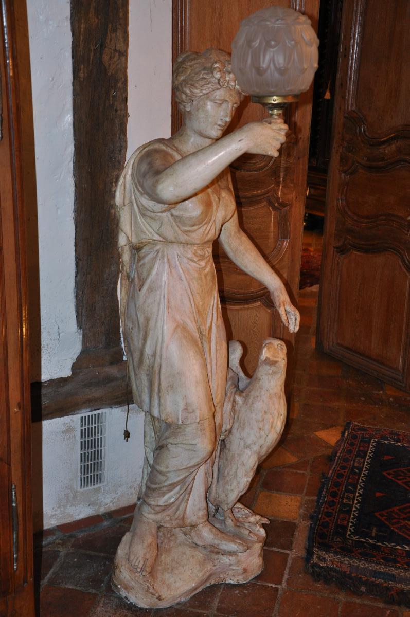 """Grande Statue Formant Torchère """"hébé Et l'Aigle""""-photo-4"""
