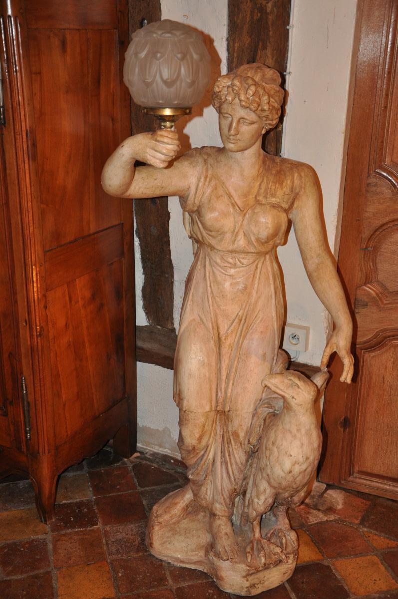 """Grande Statue Formant Torchère """"hébé Et l'Aigle""""-photo-1"""