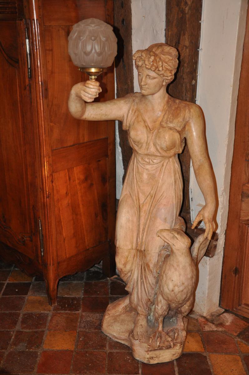 """Grande Statue Formant Torchère """"hébé Et l'Aigle""""-photo-2"""