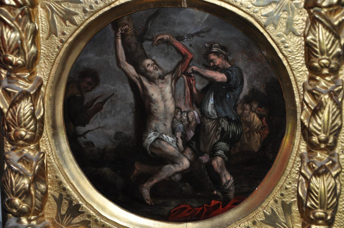 Martyre De Saint Barthélemy, Huile Sur Cuivre Du XVII ème