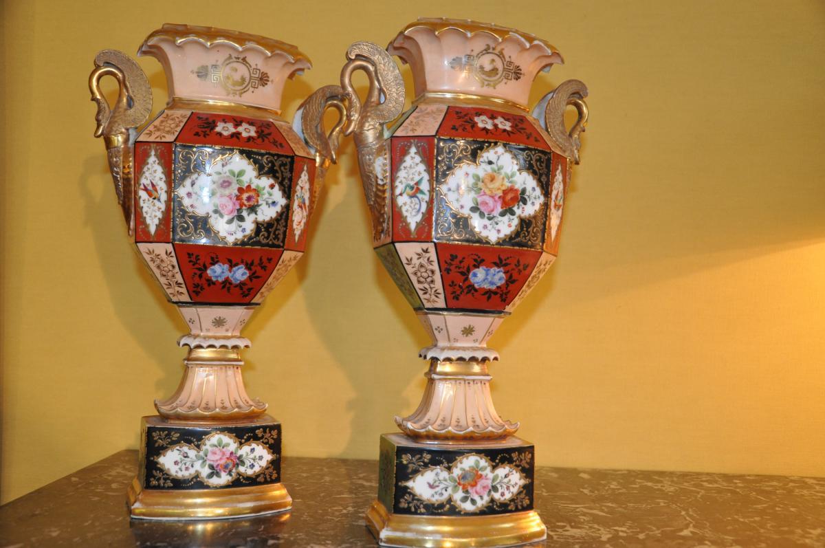 Paire De Vases Du XIXème Siècle Attribués à Jacob Petit-photo-1