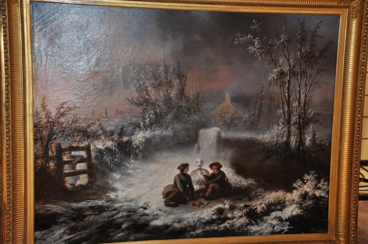 Large Oil On Canvas Of The Nineteenth Century: Children To The Snowman