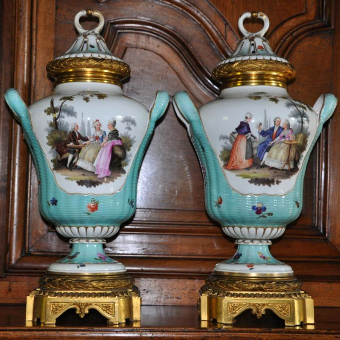 Large Pair Of Covered Vases Forming  Pots Pourris.