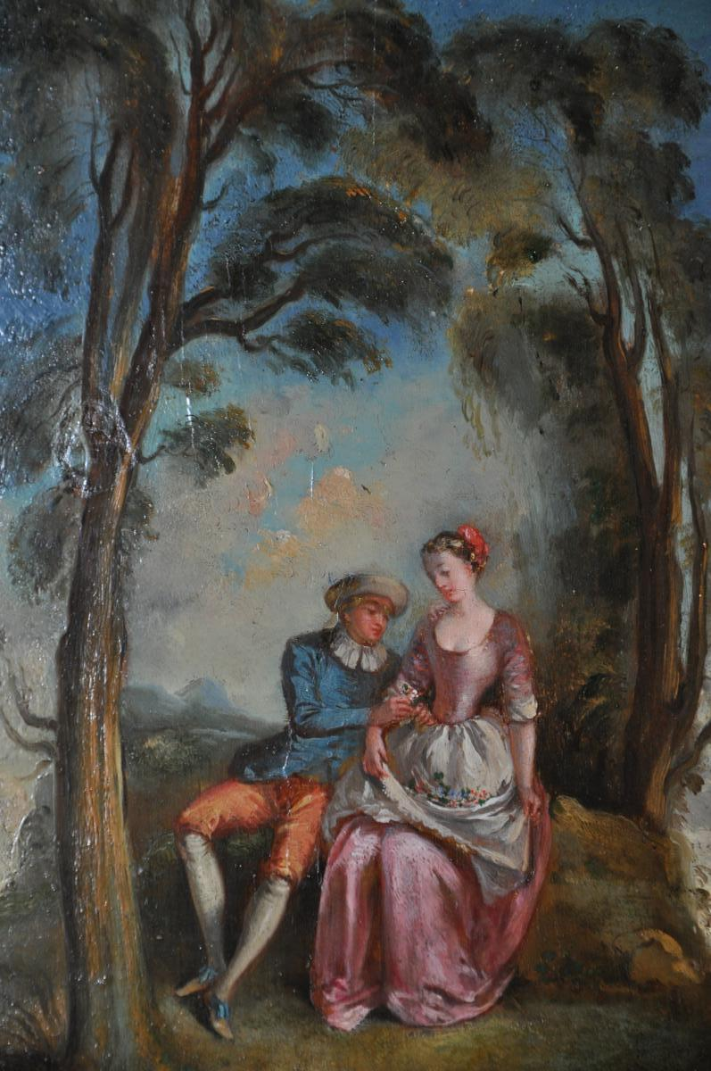 """""""the Galante Conversation"""", Oil On Panel In The Taste Of Jean-baptiste Pater-photo-2"""