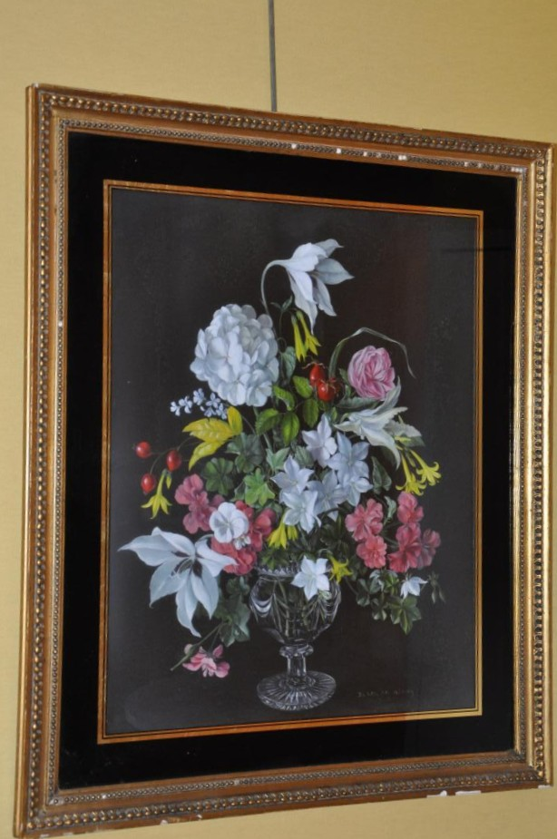 Bouquet Of Flowers In Crystal Vase By Desmond Kenny