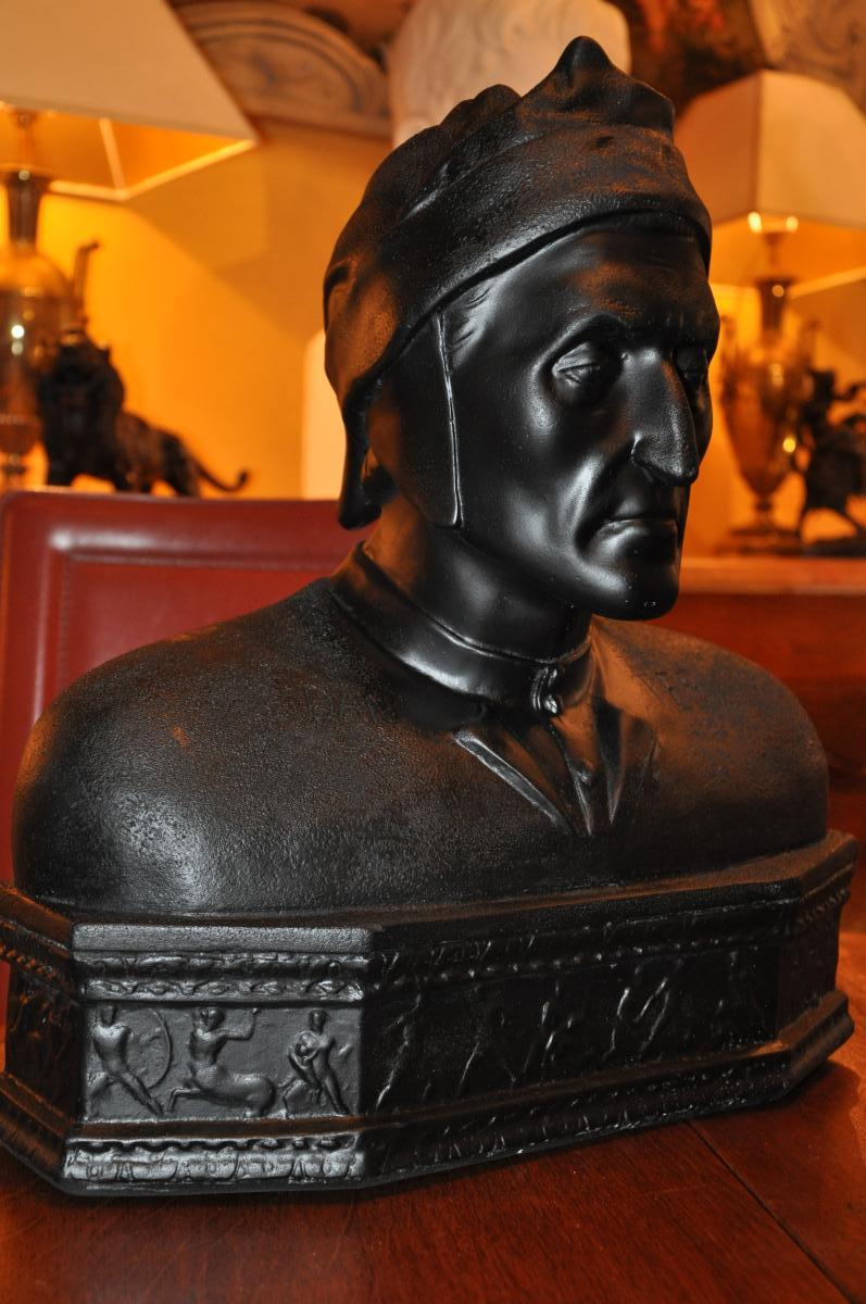 Large Dante Bust In Black Patina Plaster