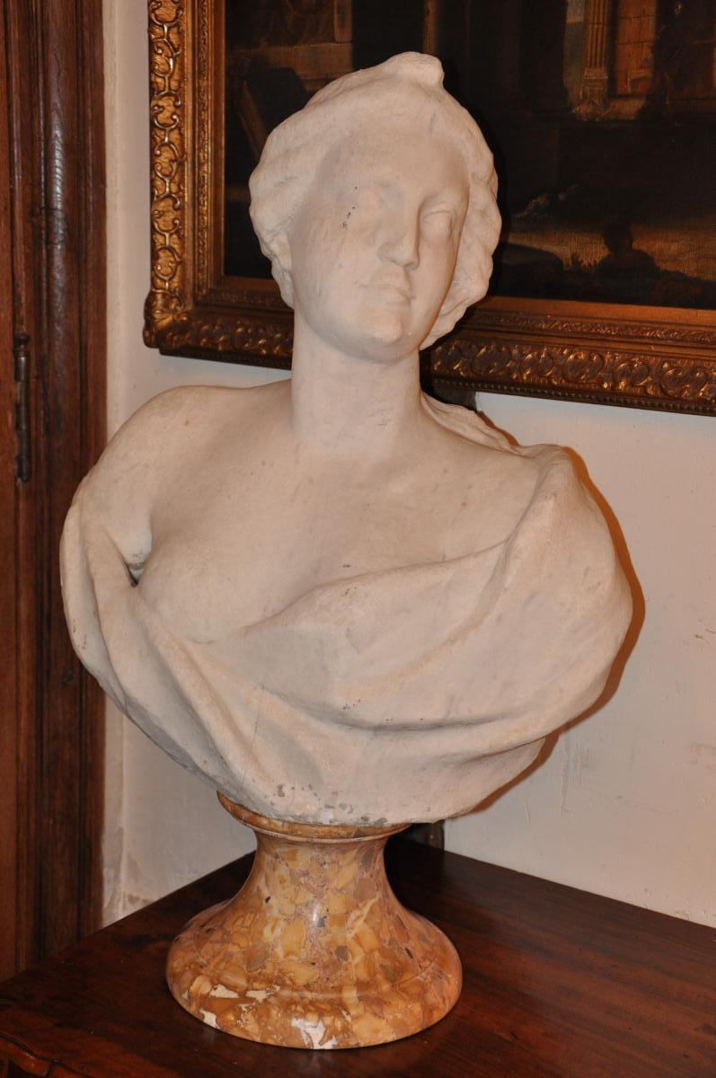 Big Bust Of Woman In White Marble 18th Century