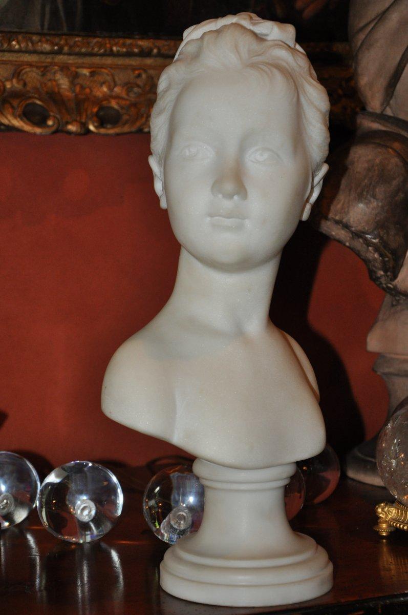 Buste d'Une Jeune Fille En Marbre, Louise Brongniart d'Après Houdon, En Marbre Blanc, XIXème