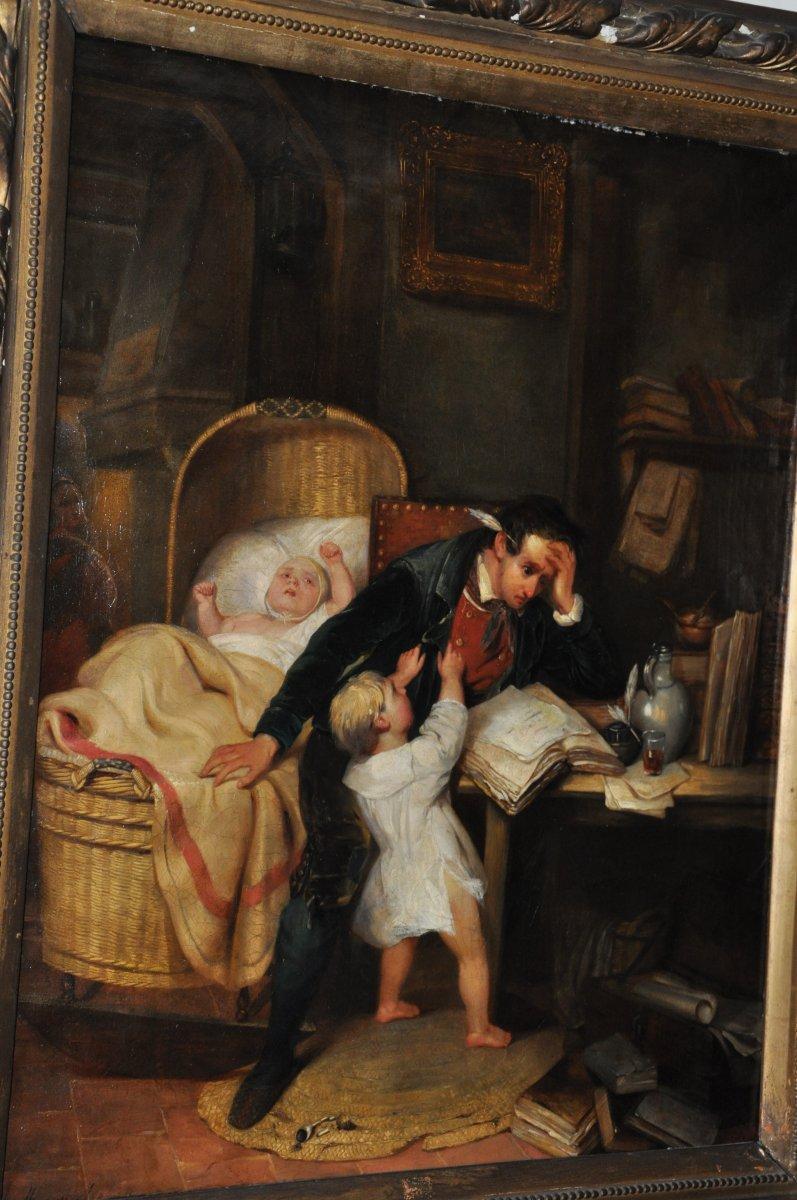 Huile sur toile du XIXème siècle, un père débordé, signé