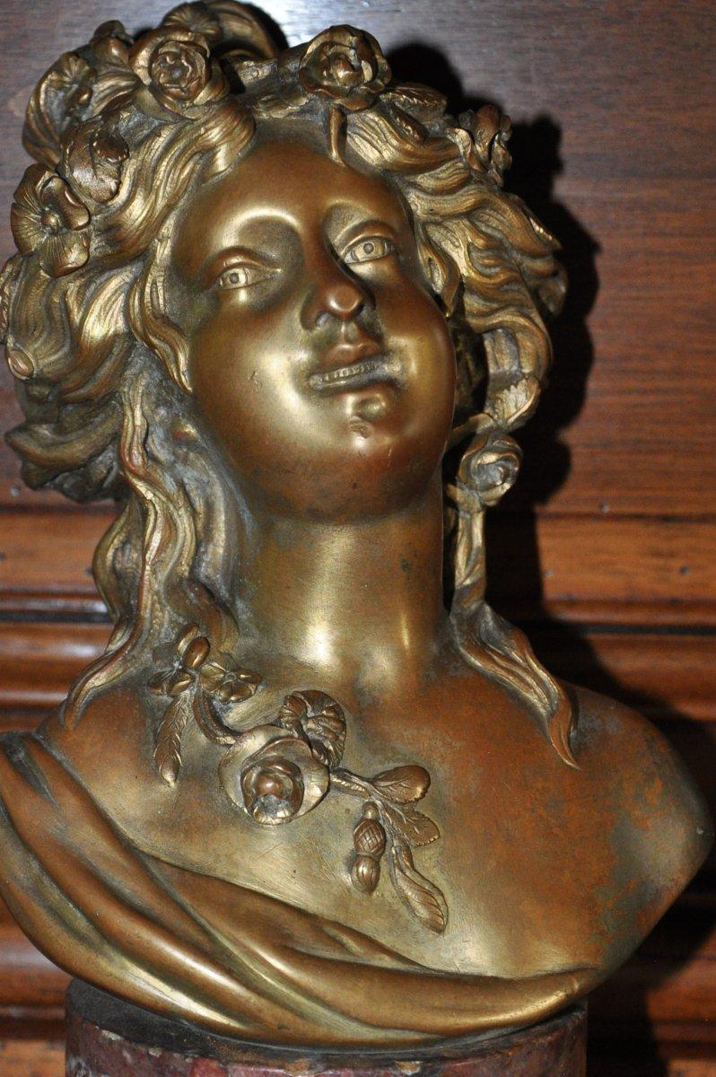 Buste De Flora, En Bronze Du XIX's d'Après Clodion Signé