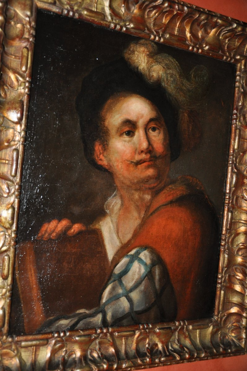Portrait d'Un Comédien Empanaché, Huile Sur Toile Début Du XVIIIe Siècle