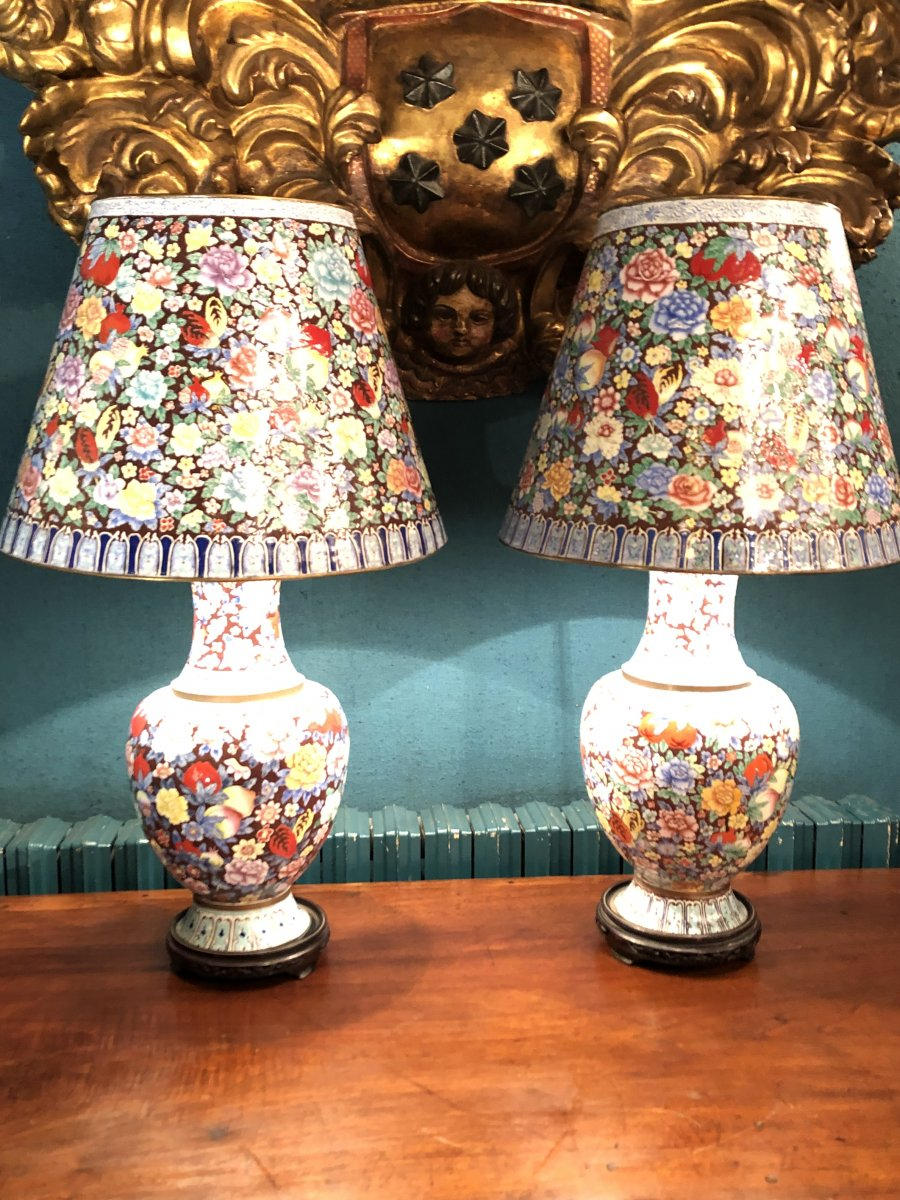 Pair Of Lamp Thousand Flowers Enamels Circa 1950
