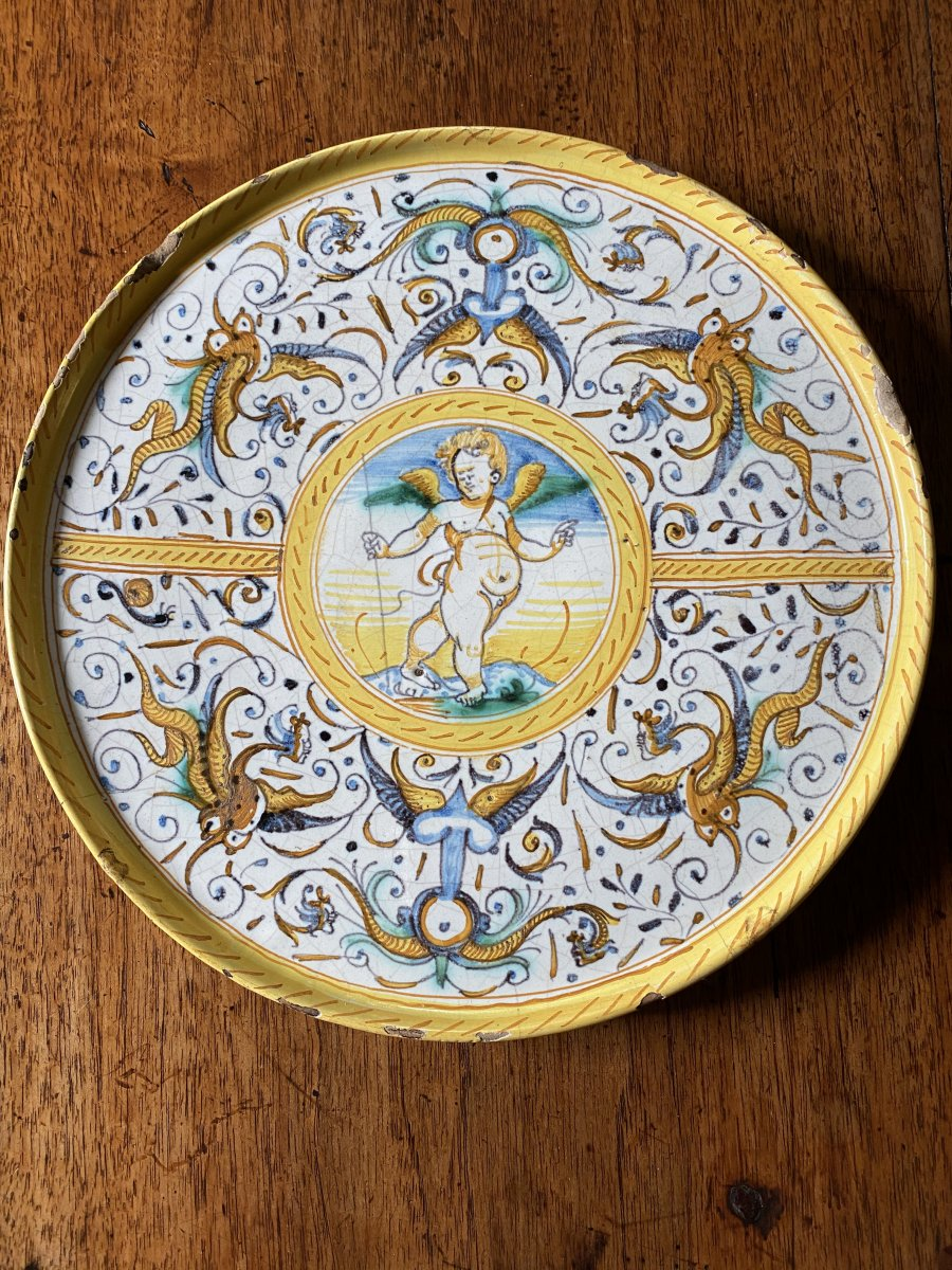 Beautiful Dish In Majolica From Castelli, XVII Th Century