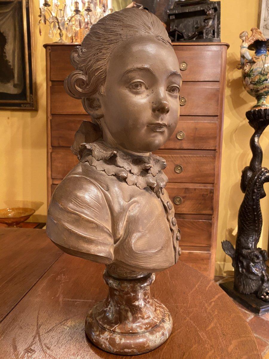 Buste D'enfant En Terre Cuite Attribué à Fernand Cian