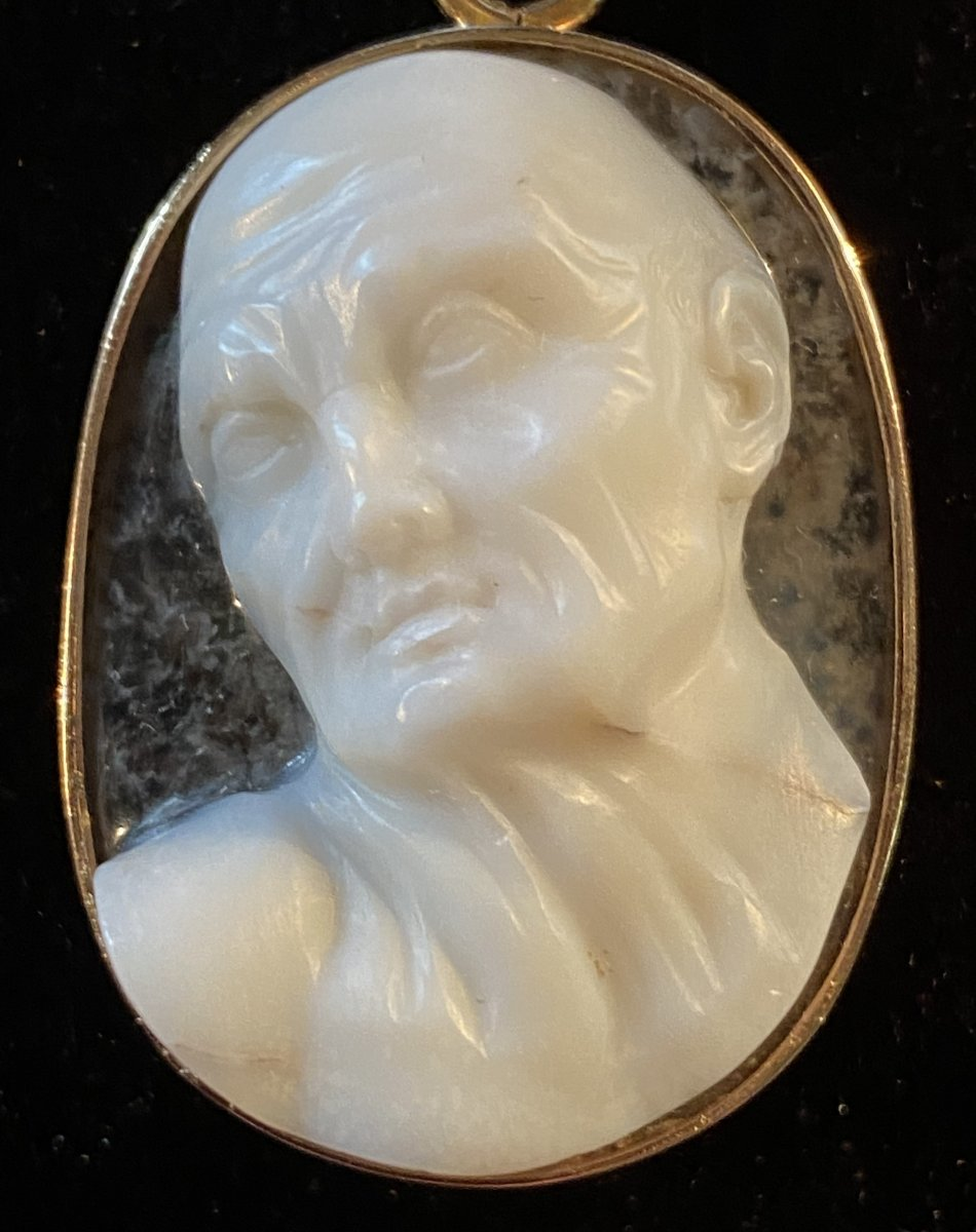 High Relief Cameo, Expressive Male Profile, Two Layered Crystal Agate-photo-2