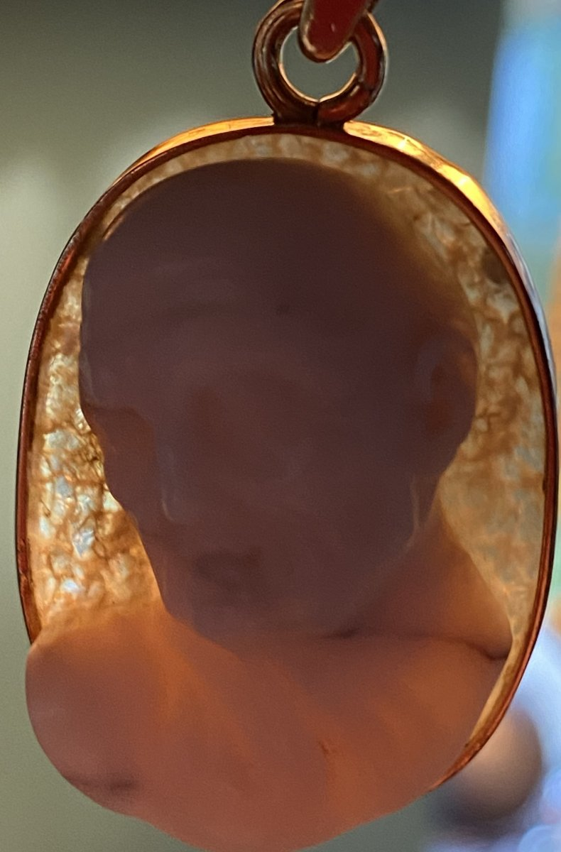 High Relief Cameo, Expressive Male Profile, Two Layered Crystal Agate-photo-5