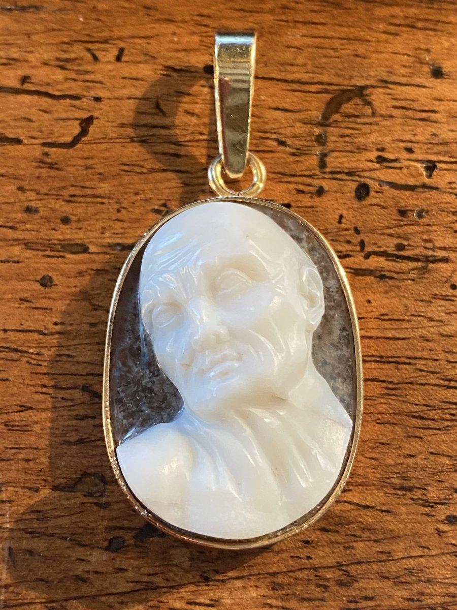High Relief Cameo, Expressive Male Profile, Two Layered Crystal Agate-photo-6